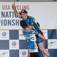 Griffin Easter celebrates with teammate Zack Noonan on the men Division I podium