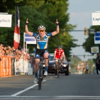 Griffin Easter exults at the end of the Division I road race