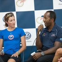 Para-cyclists Jamie Whitmore and Freddie de los Santos