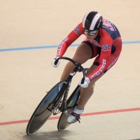 Bobby Lea on his way to a win in the omnium pursuit