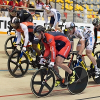 Matt Baranoski takes off against the keirin competition