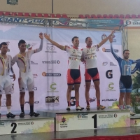 Jacob Duehring and Bobby Lea celebrate their gold medal in the Madison at the 2014 Pan Am Continental Track Championships