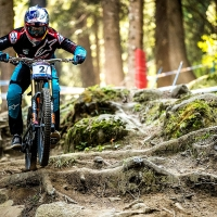 Aaron Gwin won the race and his fifth career World Cup title at Val di Sole