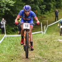 Hannah Finchamp competes in the womens U23 cross country race at the UCI World Cup in Mont-Saint-Anne