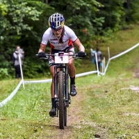 Kate Courtney competes in the womens U23 cross country race at the UCI World Cup in Mont-Saint-Anne