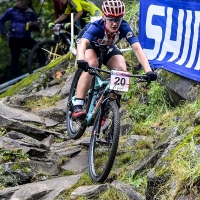Kelsey Urban competes in the womens U23 cross country race at the UCI World Cup in Mont-Saint-Anne