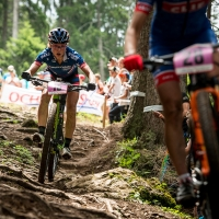 Erin Huck rides in the womens elite race in Lenzerheide