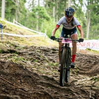 Kate Courtney on her way to victory in Lenzerheide