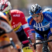 A UnitedHealthcare Pro Cycling Team rider among the field