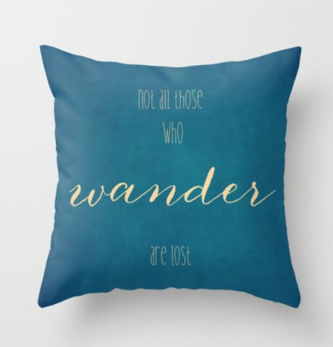 teal quote pillow