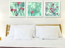 set of 3 wall flower decor prints