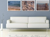 set of 3 beach print decor