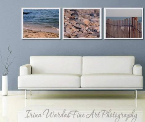 set of 3 beach print decor