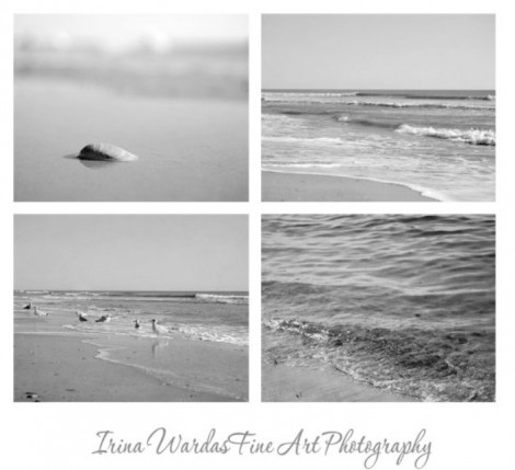 b&w ocean print interior decor