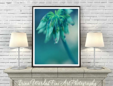 teal macro flower decor
