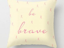 pink ribbon pillow quote