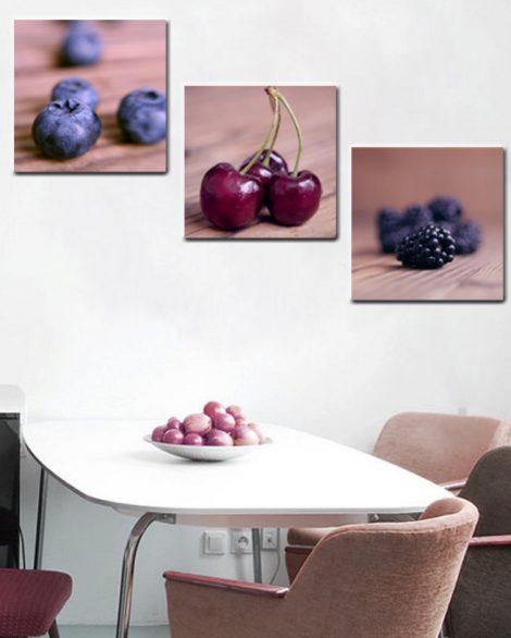 set of 3 food on canvas