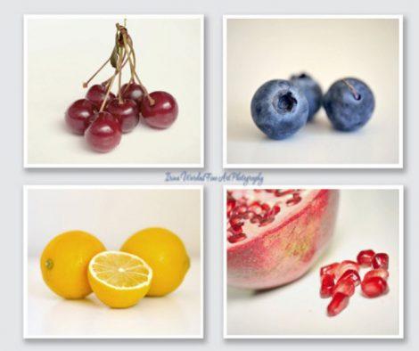 Set of 4 Fruit photo prints