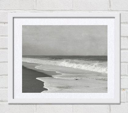 Black and white beach photography beach house decor, grey coastal wall art, ocean landscape seascape art print, seashore artwork, sea waves