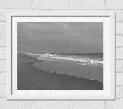 Grey wall art beach photography, coastal art print, landscape print, black and white photography, shoreline print, dark gray bathroom decor