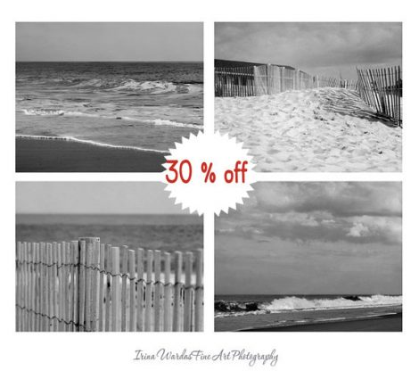 Black & white photography set, beach pictures, 4 11x14, 8x10 coastal photos, grey wall art ocean photography nautical art prints, seashore