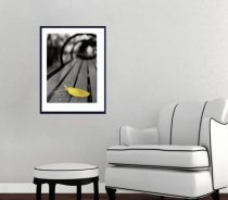 Black and white modern photography, city bench print, vertical yellow leaf picture, minimalist print, black and yellow wall art office print
