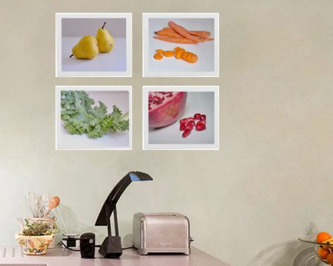 Photography, white kitchen art still life pictures, fruit and vegetables, modern kitchen photography, dining room food wall decor prints