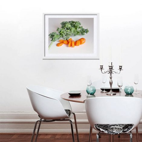 Vegetable wall art, food photography, culinary gift, food art print wall picture kitchen still life kale carrots photo, modern kitchen decor