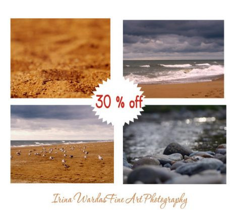 Virginia Beach photography set 4 11x14, 8x10 beach prints, gold brown dark grey coastal wall decor, seashore beach pictures nautical art set