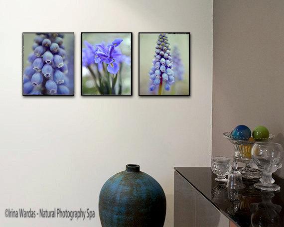 Blue Flower Photography 3 Piece Vertical Wall Decor Floral