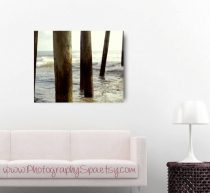 Beach abstract photography, fishing pier, modern canvas art, large wall art, coastal canvas, beige brown aqua seashore decor, nautical art