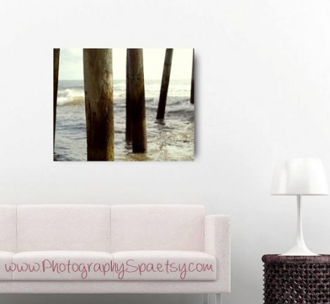 Beach abstract photography, fishing pier, modern canvas art, large wall art, coastal canvas, beige brown aqua seashore decor, nautical art