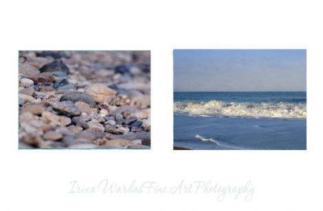 Coastal photography set of 2 beach pictures 8x10 blue ocean, beach pebbles, white beige tan blue nautical decor, beach bathroom wall art set
