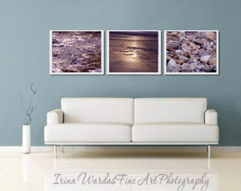 Brown wall art, bronze gold coastal wall decor, beach photography set of 3 coastal prints 11x14 beach pebbles ocean art, nautical wall decor