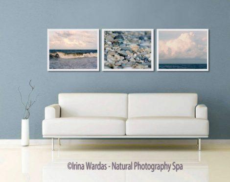 Nautical photography set, navy blue beach bath decor, beach print set of 3 coastal wall art, ocean beach living room gallery wall art set,