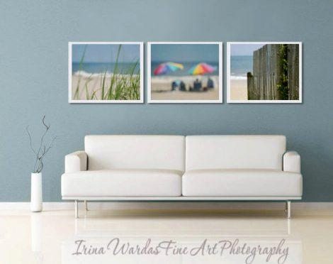 Beach print set of 3, coastal photography, light beige blue nautical wall art, green teal beach decor, sea shore aqua ocean, 3 8x10 pictures
