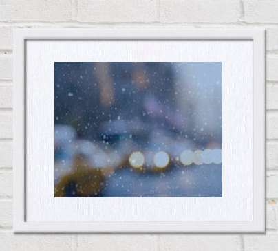 New York abstract photography, New York City abstract, Manhattan street print, New York winter, yellow cab blurr light blue wall art modern