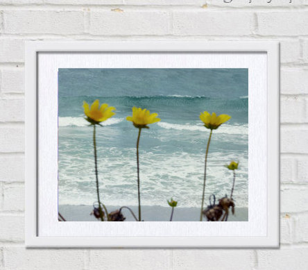 Ocean photography, teal wall art bath decor, modern beach art coastal print 11x14, yellow teal picture, nautical wall print, blue photograph