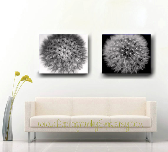 Wall Art Black And White Canvas 2 Piece Set, Modern Floral Abstract, Dandelion  Canvas