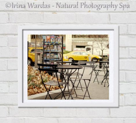 New York City photography, New York City all art print, street cafe photograph Upper West Side, yellow cab nyc picture, Manhattan, New York