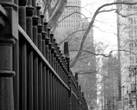 Black and white New York picture, New York City photography, Manhattan Broadway street, fence art, nyc print 11x14 New York wall art urban