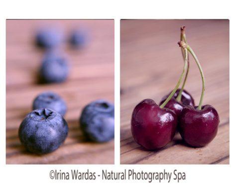 Food photography set, kitchen wall art fruit photography, blueberry kitchen decor, cherry print, dining room wall art, modern kitchen art