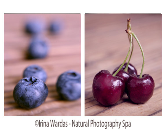 Food Photography Set, Kitchen Wall Art Fruit Photography, Blueberry Kitchen  Decor, Cherry Print
