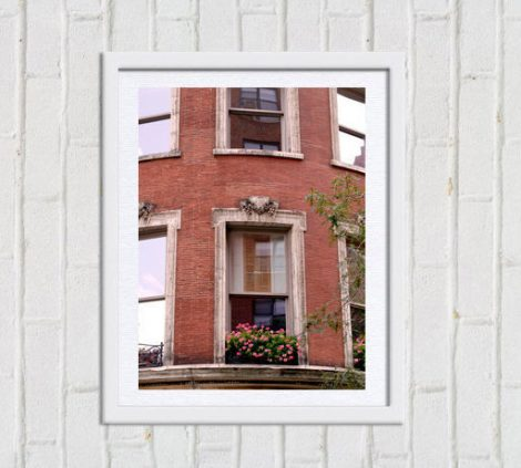 Window photography, red brick building, architecture art, travel photography, New York City print, urban wall decor New York window wall art