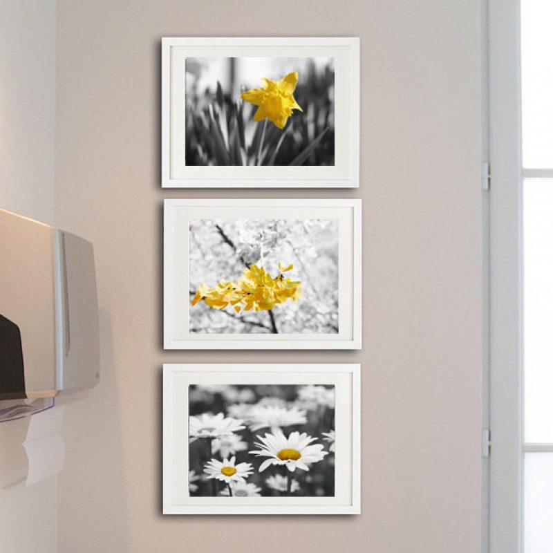 yellow grey nursery wall art flower photo decor set of 3 art
