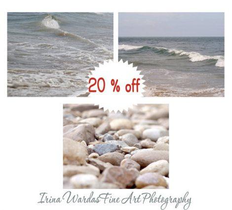 Beach photography set of 3 prints 11x14, beige grey tan nautical decor, neutral wall art ocean photography, pebbles sea water art pictures