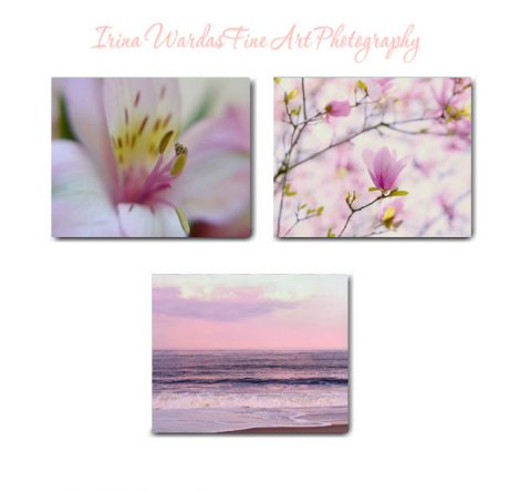 Canvas art, pink purple 3 piece wall art, baby girl nursery bedroom set of 3 canvas prints, nature photography pastel wall art, white yellow