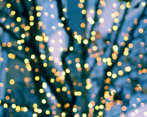 Abstract photography, lighted tree photography, modern colorful wall art, teal orange yellow sparkles bokeh, fairy twinkle abstract lights
