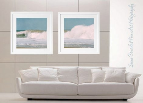 Wave photography, beach print set 2 12x12, 10x10 coastal prints, surf wall art decor 2 piece set, ocean photography set, beach house art