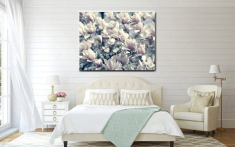 Magnolia photography floral tree branch canvas art, pale neutral large wall decor, green grey pale pink flower canvas wrap, bedroom artwork